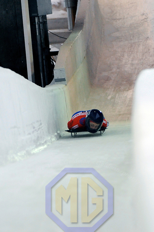 14 December 2007:  Olga Korobkina of Russia competes at the FIBT World Cup Women's skeleton competition on December 14, 2007 at the Olympic Sports Complex in Lake Placid, NY.  The race was won by Katie Uhlander of the United States.
