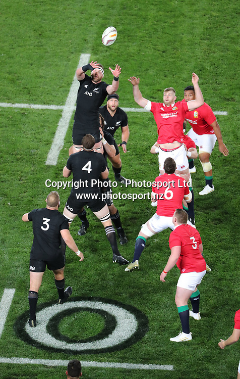 All Black Kieran Read stretches for the line out ball during the 30-15 All Black win in the first test match of the DHL Lions Series 2017 played between the All Blacks and the British and Irish Lions at Eden Park, Auckland on 24th June 2017. <br /> Copyright Photo; Peter Meecham/ www.photosport.nz