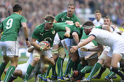 Twickenham Great Britain.  Irelands' Jamie HEASLIP holds on to the ball at the back of the scrum during the 2014 RBS Six Nations Rugby; England vs Ireland. Saturday  22/02/2014  [Mandatory Credit; Peter Spurrier/Intersport-images]