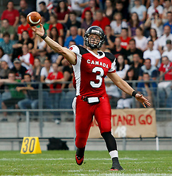 11.07.2011, UPC Arena, Graz, AUT, American Football WM 2011, Group B, Kanada (CAN) vs Oesterreich (AUT), im Bild Michael Faulds (Canada, #3, QB)// during the American Football World Championship 2011 Group B game, Canada vs Austria, at UPC Arena, Graz, 2011-07-11, EXPA Pictures © 2011, PhotoCredit: EXPA/ E. Scheriau