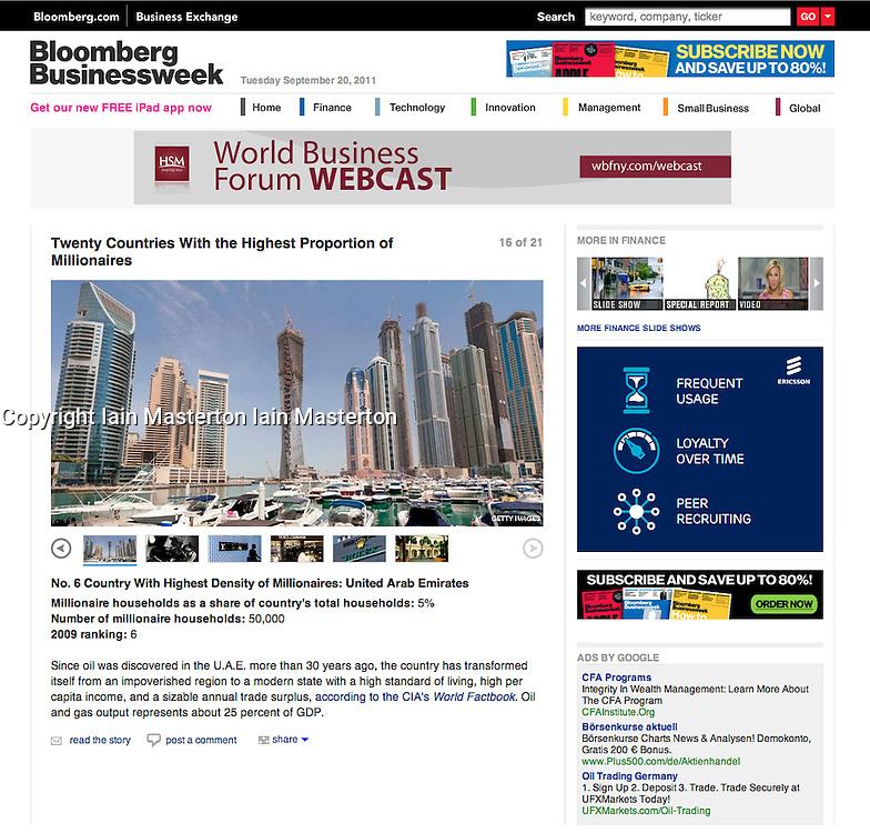 Tearsheet from Bloomberg Businessweek magazine - Dubai