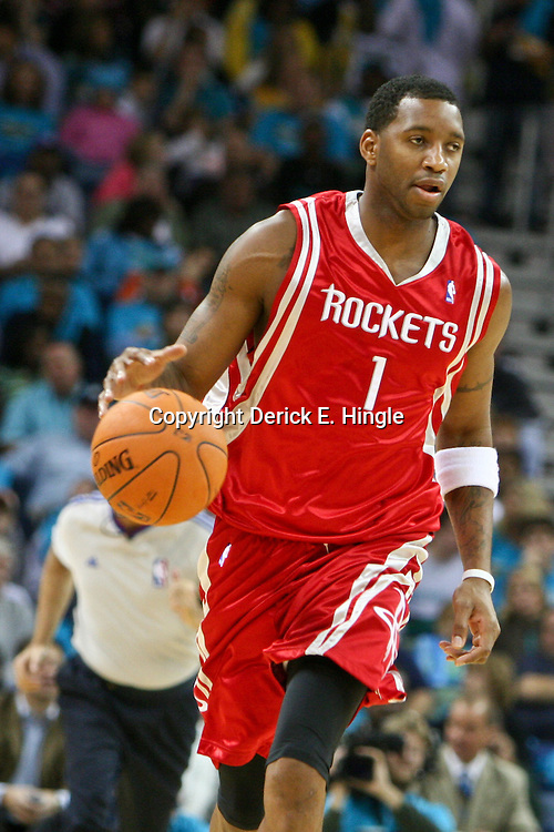 05 November 2006: Houston Rockets guard Tracy McGrady (1) drives down the court during a NBA game the New Orleans Hornets and the Houston Rockets at the New Orleans Arena in New Orleans, Louisiana.