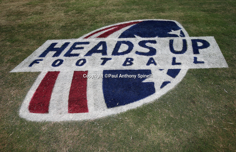 A Heads Up Football logo is painted on the grass for the Arizona Cardinals 2015 NFL preseason football game against the San Diego Chargers on Saturday, Aug. 22, 2015 in Glendale, Ariz. The Chargers won the game 22-19. (©Paul Anthony Spinelli)