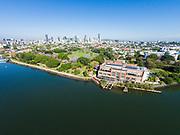 Aerial photograph of the Brisbane Powerhouse & New Farm Park, with Brisbane City in the background, Brisbane, Queensland, Australia