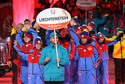 18.03.2017, Planai-Stadion, Schladming, AUT, Special Olympics 2017, Wintergames, Eröffnungsfeier, im Bild der Einmarsch der Delegation aus Liechtenstein // the delegation of Liechtenstein during the opening ceremony in the Planai Stadium at the Special Olympics World Winter Games Austria 2017 in Schladming, Austria on 2017/03/17. EXPA Pictures © 2017, PhotoCredit: EXPA / Martin Huber