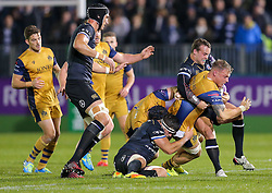 Mitch Eadie of Bristol Rugby is tackled by Michael van Vuuren of Bath Rugby - Rogan Thomson/JMP - 20/10/2016 - RUGBY UNION - The Recreation Ground - Bath, England - Bath Rugby v Bristol Rugby - EPCR Challenge Cup.