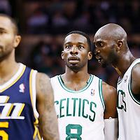 14 November 2012: Boston Celtics power forward Kevin Garnett (5) talks to Boston Celtics power forward Jeff Green (8) during the Boston Celtics 98-93 victory over the Utah Jazz at the TD Garden, Boston, Massachusetts, USA.