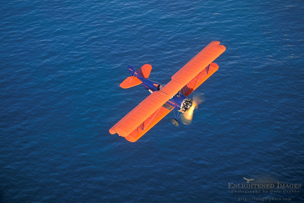 BiPlane over the Pacific Ocean at La Jolla,+Northern San Diego Coastline San Diego County, CALIFORNIA
