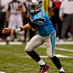 October 3, 2010; New Orleans, LA, USA; Carolina Panthers quarterback Jimmy Clausen (2) looks to handoff during the second quarter at the Louisiana Superdome. Mandatory Credit: Derick E. Hingle