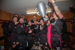 Arbroath's players cele after winning the league. Brechin City 1 v 1 Arbroath, Scottish Football League Division One played 13/4/2019 at Brechin City's home ground Glebe Park. Arbroath win promotion.
