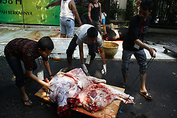 September 1, 2017 - Jakarta, Capital Region of Jakarta, Indonesia - Muslim peoples slaughter sacrificial animals during Idul Adha celebrations or known as sacrificial festivals in Jakarta, Indonesia, September 1, 2017. Eid al-Adha is one of the festivals in Islam to commemorate the sacrificial event, when the Prophet Ibrahim, who was willing to sacrifice his son to God as proof of his faith. But when slaughtered, his son was replaced by God with sheep. Until now, the event is always commemorated by Muslims all over the world by slaughtering sacrificial animals, whose flesh is distributed to the poor. (Credit Image: © Aditya Irawan/NurPhoto via ZUMA Press)