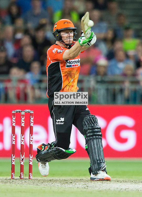 KFC Big Bash League T20 2015-16 , Sydney Thunder v Perth Scorchers, Spotless Stadium; 7 January 2016<br /> Perth Scorchers Cameron Bancroft plays a pull shot.