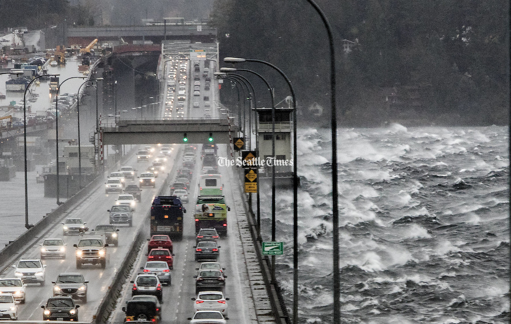 Waves traveling across Lake Washington are buffeted by the Highway 520 floating bridge.<br />