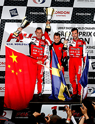 (Left to right) Philippe Chiappr of CTIC F1 Shenzhen China Team, Erik Stark of Maverick F1 and Peter Morin of CTIC F1 Shenzhen China Team during the podium presentation during the F1H2O UIM World Championship 2018 Grand Prix of London around Royal Victoria Dock