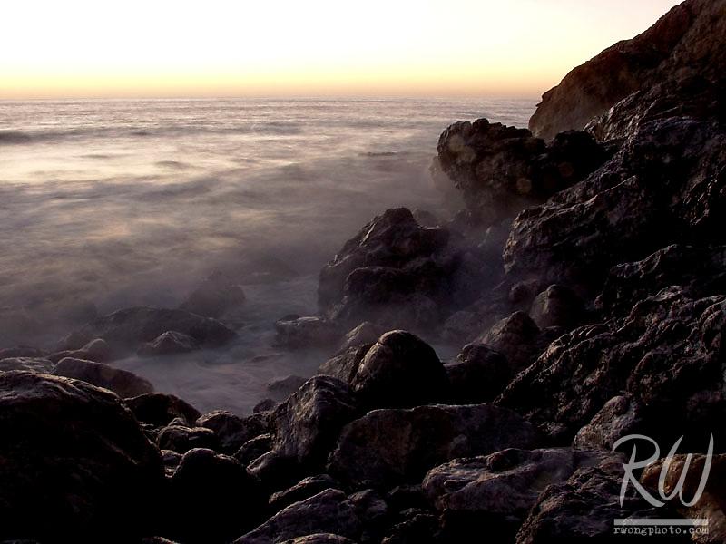 Sunset Rocky Cliffs at Rockaway Beach, Pacifica, California