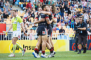 The Vodafone Warriors celebrate after Shaun Johnson scores a try during the Vodafone Warriors v Newcastle Knights, NRL Rugby League, Mt Smart Stadium, Auckland. 28 March 2016. Copyright photo: Libby Law / www.photosport.nz