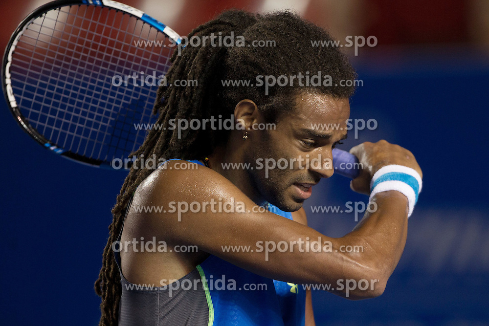 Germany's Dustin Brown reacts during the men's singles match against South Africa's Kevin Anderson at the Abierto Mexicano Telcel tennis tournament in Acapulco, Guerrero state, Mexico, on Feb. 23, 2015. Dustin Brown lost the match 0-2 (da). EXPA Pictures &copy; 2015, PhotoCredit: EXPA/ Photoshot/ [e]Alejandro Ayala<br /> <br /> *****ATTENTION - for AUT, SLO, CRO, SRB, BIH, MAZ only*****