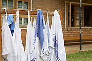 Hand towels hanging out to dry in Kisiizi Hospital, Uganda.