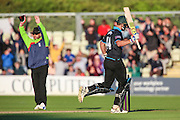 Ross Whiteley hits a six to seal victory for Worcestershire Rapids during the Natwest T20 Blast North Group match between Worcestershire County Cricket Club and Leicestershire County Cricket Club at New Road, Worcester, United Kingdom on 29 May 2015. Photo by Shane Healey.