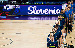 Luka Doncic of Slovenia and other players of Slovenia listening to the National anthem during basketball match between National Teams of Finland and Slovenia at Day 3 of the FIBA EuroBasket 2017 at Hartwall Arena in Helsinki, Finland on September 2, 2017. Photo by Vid Ponikvar / Sportida