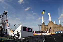 © Licensed to London News Pictures. 29/10/2011, London, UK.  Germany's Patrick Cinca jumps during a qualification heat of the FIS Snowboard World Cup Bir Air competition at the Freeze Snowboard and Ski Festival at Battersea Power Station in London, Saturday, Oct. 29, 2011. Photo credit : Sang Tan/LNP