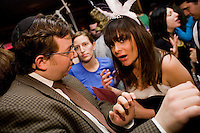 March 22nd 2008. Havana Central, New York, NY. Jewish Costume Purim Party at Havana Central at the West End, 2991 Broadway (113th street). Young jewish man flirting with a girl attending the  party organized by twin brothers Seth and Isaac Galena, from bangitout.com, a jewish humour website.<br /> <br /> Reporter: Bleyer,Jennifer: 917-279-2078<br /> email: bleyer@nytimes.com<br /> ©2008 Gianni Cipriano<br /> cell. +1 646 465 2168 (USA)<br /> cell. +1 328 567 7923 (Italy)<br /> gianni@giannicipriano.com<br /> www.giannicipriano.com