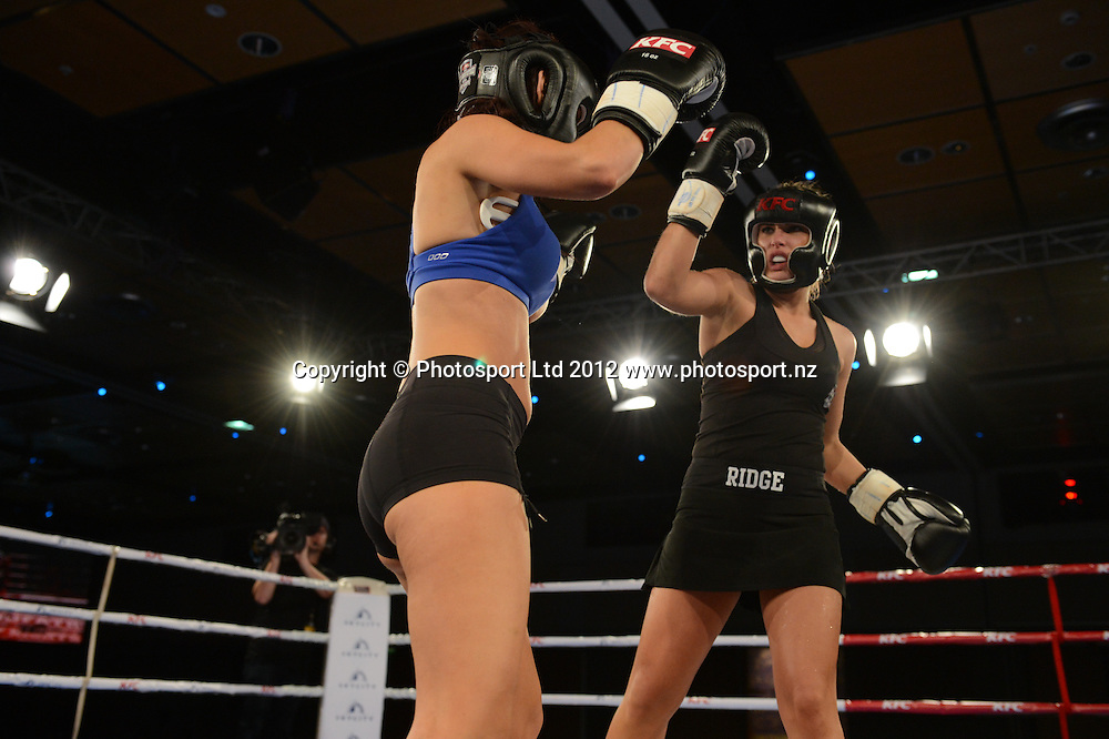 Jamie Ridge versus Rosanna Arkle. KFC Godfather of fight nights at the Sky City Grand Hotel, Auckland, New Zealand on Thursday 5 July 2012. Photo: Andrew Cornaga/Photosport.co.nz