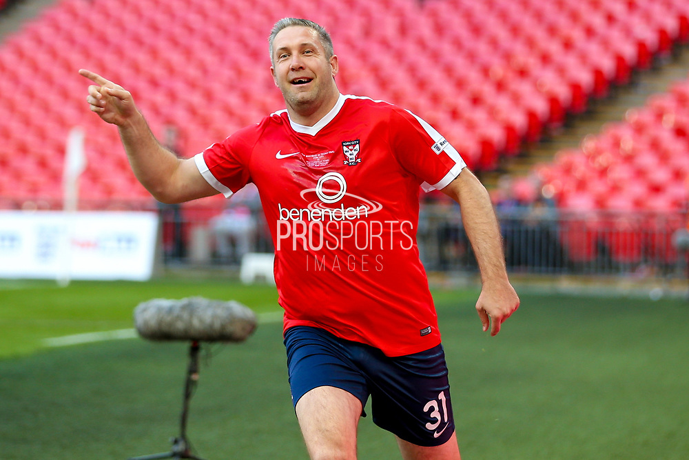 York City forward Jonathan Parkin (31) scores a goal and celebrates to make the score 1-0 during the FA Trophy match between Macclesfield Town and York City at Wembley Stadium, London, England on 21 May 2017. Photo by Simon Davies.