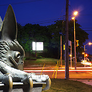 Guelph's gryphon statue on the corner of Gordon and Stone. Photo by Darryl Cremasco