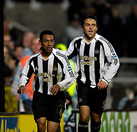 Photo: Jed Wee.<br /> Newcastle United v Portsmouth. Carling Cup. 25/10/2006.<br /> <br /> Newcastle's Giuseppe Rossi (R) celebrates with goalscorer Nolberto Solano.