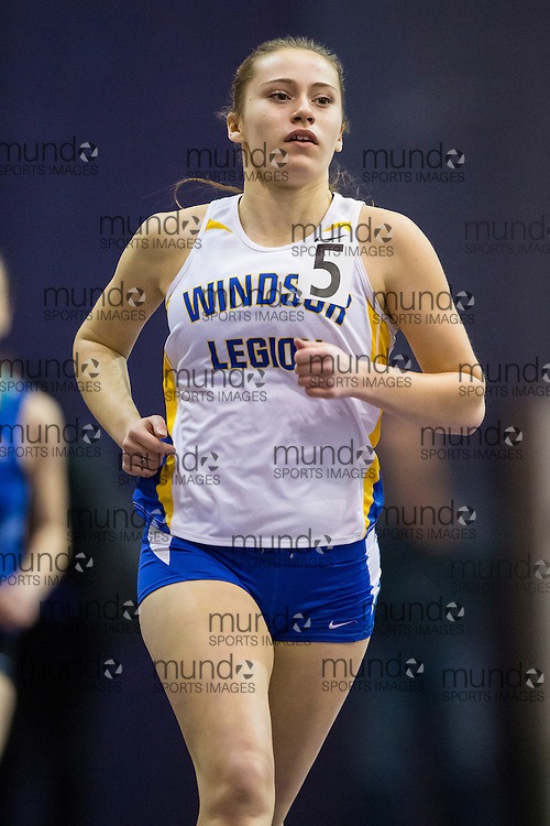 Jessica Turner of Windsor Legion competes in the 400m at the STL-LW All Comers Meet # 2 in London, Ontario, Saturday, January 24, 2015.<br /> Mundo Sport Images/ Geoff Robins