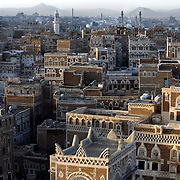 A view of the capital city of Yemen at sunrise.