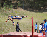 Oxford High's Justin Fondren high jumps at Oxford Eagle Relays at Oxford High School on Saturday, March 27, 2010 in Oxford, Miss.