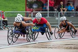 06/08/2017; Dederick, Hannah, T54, USA, Mussinelli, Licia, SUI, Floch, Elizabeth at 2017 World Para Athletics Junior Championships, Nottwil, Switzerland