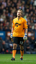 BOLTON, ENGLAND - Sunday, September 26, 2010: Bolton Wanderers' goalkeeper Jussi Jaaskelainen during the Premiership match at the Reebok Stadium. (Photo by David Rawcliffe/Propaganda)