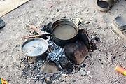 A fire for cooking at Middle East Tek Festival, in Wadi Rum, Jordan, October 2008. Middle East Tek, Wadi Rum, Jordan, 2008
