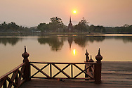 Sunset and view over pond to Wat Sa Si, Sukhothai Historical Park, UNESCO World Heritage Site, Thailand