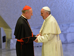 October 5, 2016 - Vatican City, Vatican - Gianfranco Ravasi and Pope Francis during Conference Sport at service of humanity, at the Vatican on october 05, 2016  The goal of the conference is to create a forum where leaders from different religious faiths, sports, business, academia and media can discuss how faith and sport can work together to better serve humanity. (Credit Image: © Silvia Lore/NurPhoto via ZUMA Press)