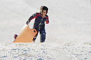Boy climbs to the to the top of a hill carrying his sled. Withrow Park, Toronto.