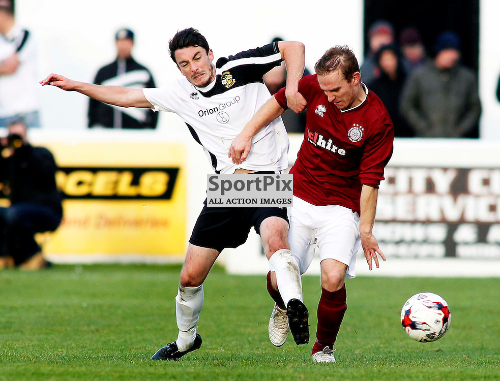 Clach's Ryan McIntosh tackles Linlithgow midfield man Blair Batchelor<br /> in the Scottish Cup 2nd Round Match at Grant Street Park(c) Andrew West | SportPix.org.uk