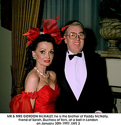 MR & MRS GORDON McNALLY, he is the brother of Paddy McNally, friend of Sarah, Duchess of York, at a ball in London on January 30th 1997.LWE 3