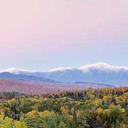 Dusk and Mount Washington in new Hampshire's White Mountains.  Bethlehem, New Hampshire.