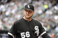 CHICAGO - MAY 21:  Mark Buehrle #56 of the Chicago White Sox looks on against the Los Angeles Dodgers on May 21, 2011 at U.S. Cellular Field in Chicago, Illinois.  The White Sox defeated the Dodgers 9-2.  (Photo by Ron Vesely)  Subject:   Mark Buehrle