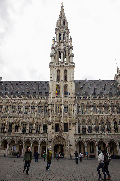 Brussel's Town Hall, a Gothic building from the Middle Ages, located on the famous Grand Place in Brussels, Belgium.