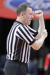 22 February 2017:  Brad Gaston calls an illegal forearm during a College MVC (Missouri Valley conference) mens basketball game between the Southern Illinois Salukis and Illinois State Redbirds in  Redbird Arena, Normal IL