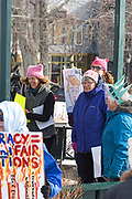 Bar Harbor, Maine, USA. 20 January, 2018. Protestors at a sister rally to the Womens March. ©Jennifer Steen Booher/Alamy Live News