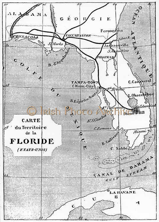 Map of Florida showing the position of the launch site of the space craft 'Columbiad'. From Jules Verne 'De la Terre a la Lune', Paris, 1865. Wood engraving.