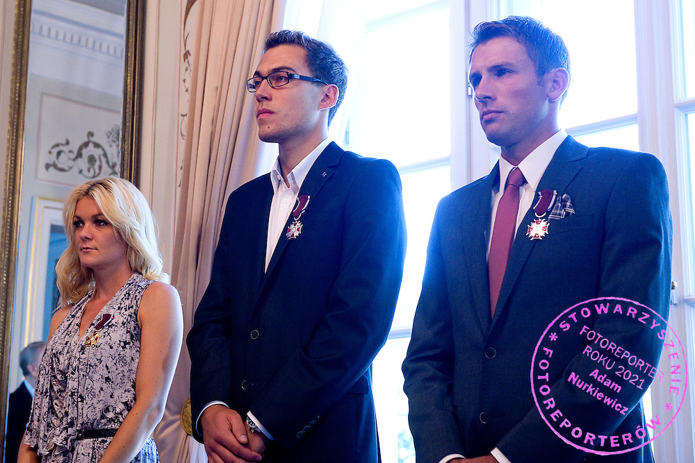 (L) Agnieszka Radwanska and (C) Jerzy Janowicz and (R) Lukasz Kubot during meeting in Belvedere Palace in Warsaw, Poland.<br /> <br /> Poland, Warsaw, July 08, 2013<br /> <br /> Picture also available in RAW (NEF) or TIFF format on special request.<br /> <br /> For editorial use only. Any commercial or promotional use requires permission.<br /> <br /> Photo by &copy; Adam Nurkiewicz / Mediasport