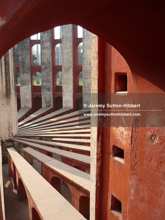 The Jantar Mantar Scientific observatory, built in 1752 by Maharaja Jai Singh II, near Connaught Place, in New Delhi, India, on 22nd December 2011.