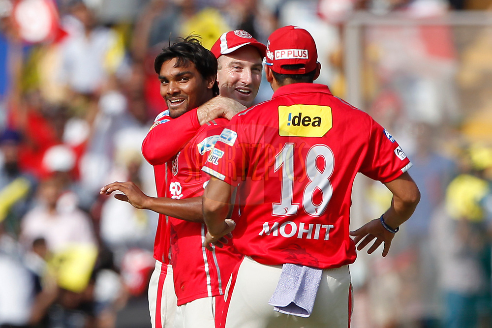 Sandeep Sharma of Kings XI Punjab celebrates the wicket of Shreyas Iyer of the Delhi Daredevils during match 36 of the Vivo 2017 Indian Premier League between the Kings XI Punjab and the Delhi Daredevils  held at the Punjab Cricket Association IS Bindra Stadium in Mohali, India on the 30th April 2017<br /> <br /> Photo by Deepak Malik - Sportzpics - IPL